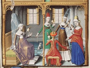 Medieval Ladies Spinning.