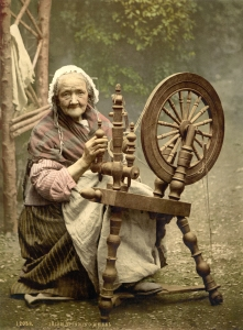 Elderly woman spinning